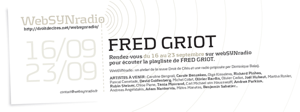 webSYNradio fred-griot-websynradio600 Fred Griot sur webSYNradio : Tarkos & cie Programme
