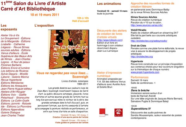 flyer-salon-livre-artiste-carre-art-2011-websynradio