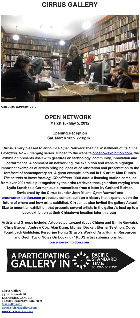 webSYNradio cirrus1 Alan Dunn presenting CDs as listening station at Cirrus Gallery in LA News  Alan Dunn