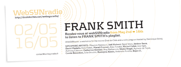 SYN flyer144 SMITH eng600 Frank Smith : Rendre la parole, en mai sur websynradio