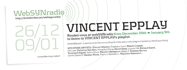 webSYNradio flyer155 EPPLAY eng600 Loeuvre au noir de Vincent Epplay sur webSYNradio