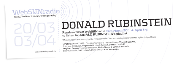 SYN flyer161 Donald RUBINSTEIN eng600 Donald Rubinstein, radio show