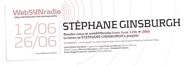 webSYNradio flyer167 Stephane Ginsburgh eng600 Stéphane Ginsburgh, One player