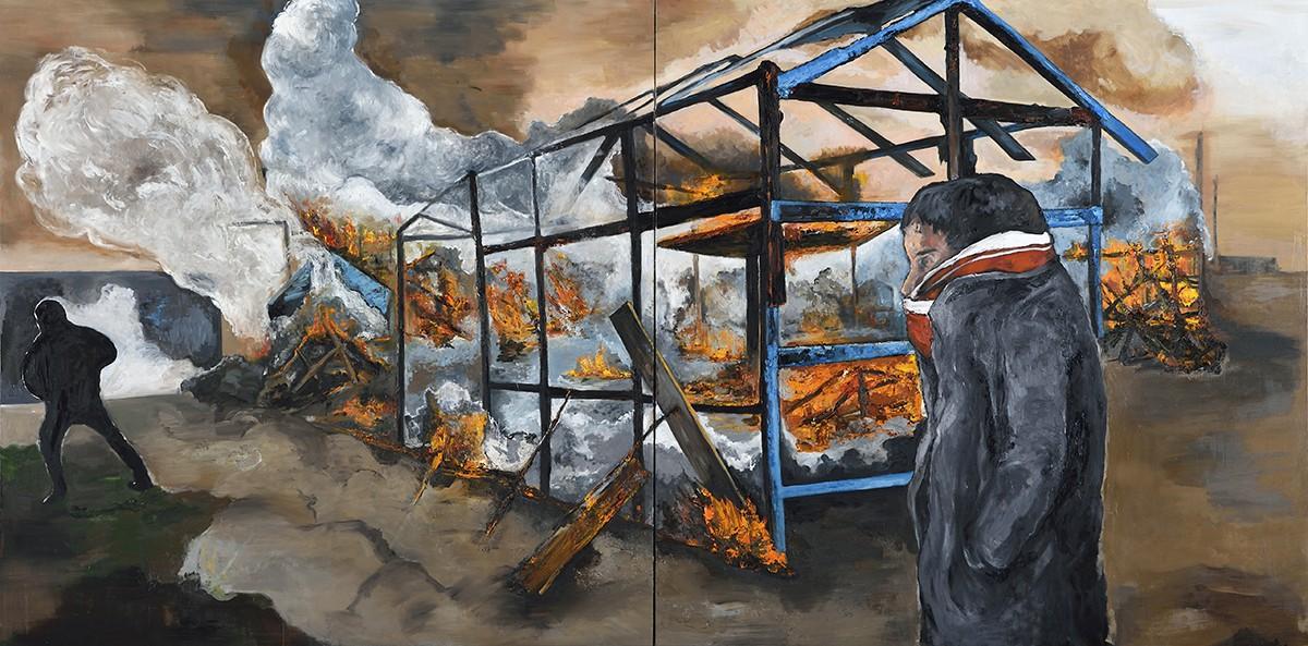 Le démantèlement, Calais, huile sur toile, 200x400 cm, 2017.