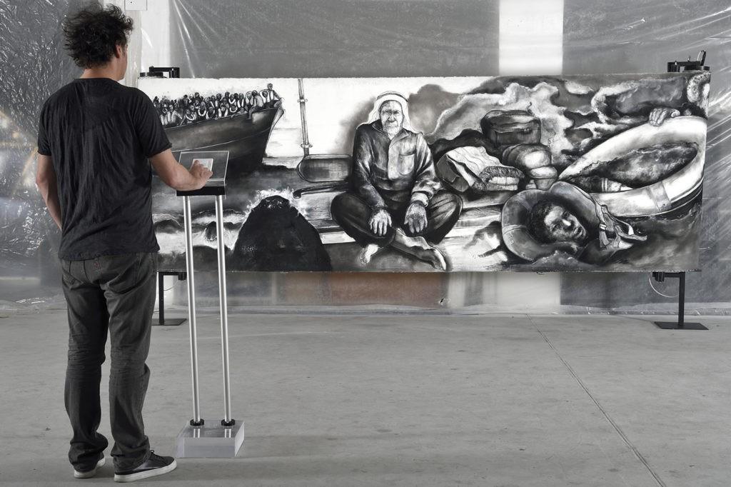 Atelier de Fred Kleinberg, préparation de l'exposition Odyssée, Art Elysée, 2017.